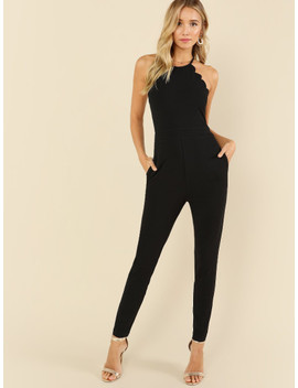 Scallop Edge Halter Tailored Jumpsuit by Shein
