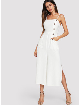 Button And Pocket Front Slit Wide Leg Jumpsuit by Shein