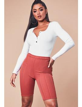White Ribbed Long Sleeve Popper Front Bodysuit by Missguided