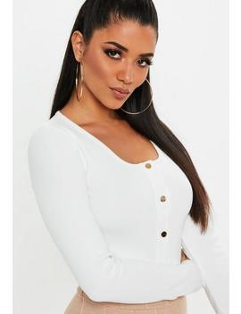 White Ribbed Long Sleeve Popper Crop Top by Missguided