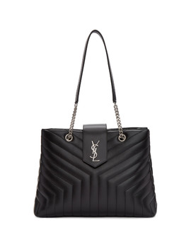 Black Large Monogram Loulou Shopping Tote by Saint Laurent