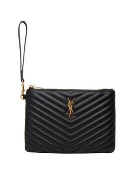 Black Quilted Pouch by Saint Laurent
