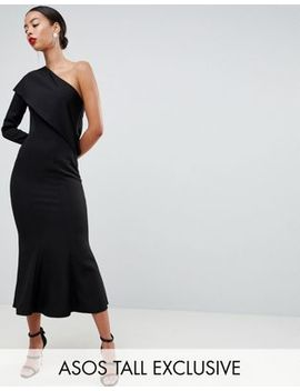 Asos Design Tall One Shoulder Fit And Flare Midi Dress by Asos Design