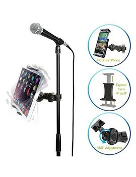 Accessory Basics Easy Adjust Cymbal Microphone Mic Stand Tablet Mount For Apple I Pad Pro Air Mini Samsung Galaxy Tab Surface Pro/Book & I Phone X 8 7 Plus 6 S Galaxy S8 S9 Note Lg V30 Moto Smartphones by Accessory Basics