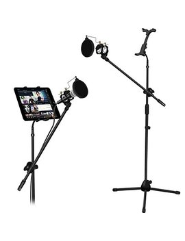 Microphone And Tablet Tripod Boom Stand Kit, Kasonic 2 In 1 Adjustable Telescopic Tablet Holder For Apple I Pad Air Mini Samsung Galaxy Note Pro Microsoft Surface Google Nexus by Kasonic