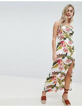 Платье макси с цветочным принтом и разрезом Missguided by Asos