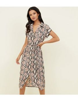 Camel Snake Print Midi Shirt Dress by New Look