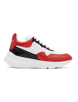 White & Red Runner Sneakers by Alexander Mcqueen