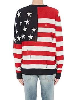 Distressed Stars & Stripes Linen Sweater by Balmain