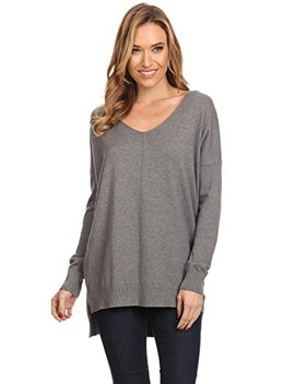 Alexander + David Ad Womens Oversized V Neck Pullover Sweater Top W/Slight Hi Low by Alexander + David