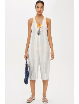 Striped Lace Up Jumpsuit by Topshop