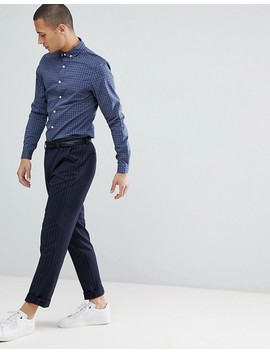 Asos Design Smart Skinny Check Cvc Shirt In Blue by Click Here To Shop Our Range Of Ties