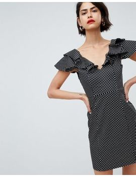 River Island Ruffle Shoulder Polka Dot Bodycon Mini Dress by River Island
