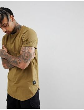 Sixth June Oversized T Shirt In Khaki With Curved Hem by Sixth June
