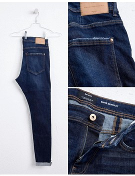 Bershka   Jeans Met Superskinny Pasvorm In Donkerblauw by Asos