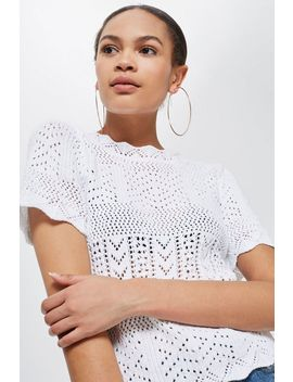 Petite Stitchy Scallop T Shirt by Topshop