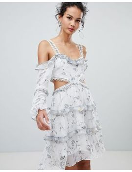 Glamorous Cold Shoulder Floral Midi Dress by Glamorous