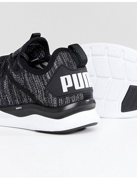 Puma Ignite Flash Evo Knit Trainers In Black 19050802 by Puma