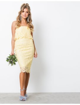 Lace Bandeau Midi Dress by Nly Trend