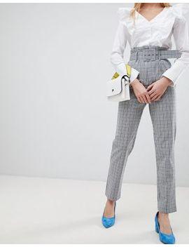Asos Design   Pantaloni Slim A Quadri Con Cintura by Asos