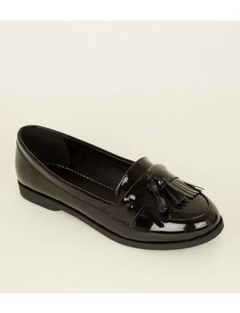 Black Patent Tassel Fringe Trim Loafers by New Look