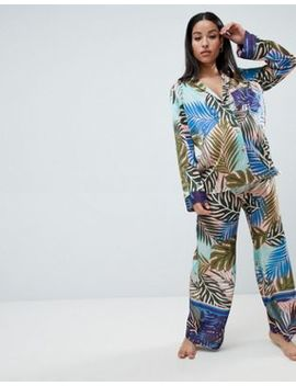 Asos Design Maternity Tropical Border Print Satin Pyjama Set by Asos Design