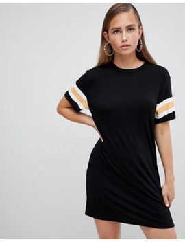 Pretty Little Thing Sleeve Stripe T Shirt Dress by Pretty Little Thing