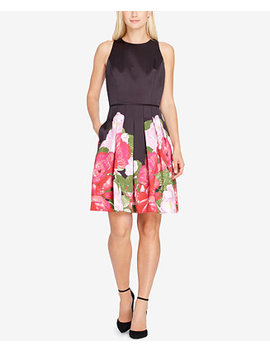 Floral Satin Fit & Flare Dress by Tahari Asl
