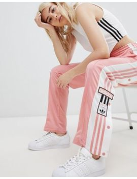 Adidas Original Three Stripe Track Pant With Vintage Logo In Pink by Adidas