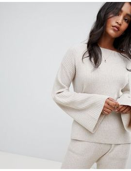 Micha Lounge Ribbed Off Shoulder Jumper With Wide Sleeves Co Ord by Micha Lounge