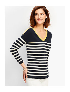 Stripe V Neck Sweater by Talbots