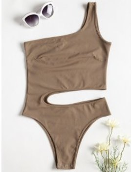 One Shoulder Cut Out Bodysuit   Camel Brown S by Zaful