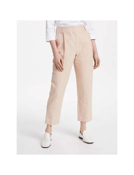 Finery Oliver Linen Peg Trousers, Nude Fawn by Finery