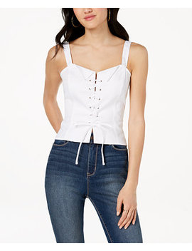 Juniors' Cotton Lace Up Crop Top by Xoxo