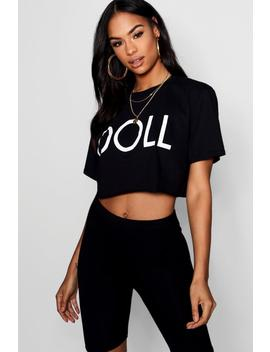 Doll Graphic Tee Cycle Short Co Ord Set by Boohoo