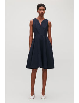 Curved Neck Pleated Dress by Cos