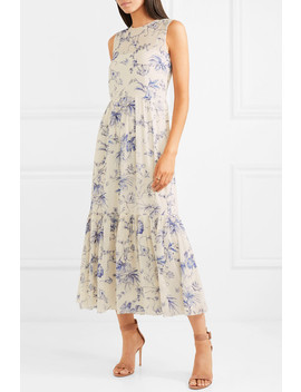 Pleated Printed Crepe De Chine Midi Dress by Red Valentino