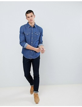 Lee Jeans Pindot Button Down Denim Shirt In Deep Indigo by Lee