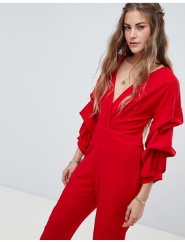 Love & Other Things Ruched Sleeve Jumpsuit by Jumpsuit