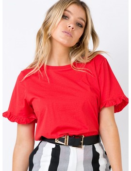 Roxy Ruffle Top Red by Princess Polly