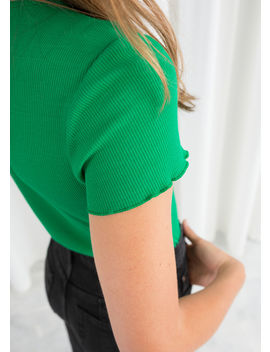 Ribbed Cotton Ruffle Tee by & Other Stories
