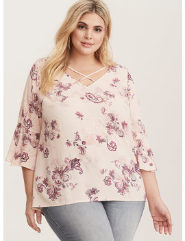 Pink Floral Strappy Crepe Blouse by Torrid