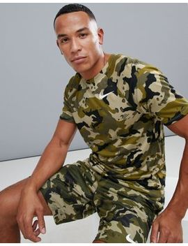 Nike Training Dry Camo T Shirt In Khaki 923524 209 by Nike