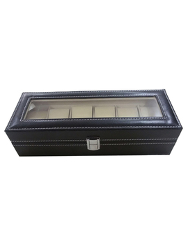 Watch Case Leather Watch Box Jewelry Box Gift For Men (6 Compartments   Black) by Gerryda