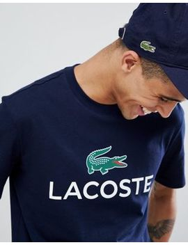 Lacoste Large Chest Logo T Shirt In Navy by Lacoste