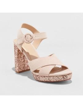 Women's Fiona Glitter Crossband Platform Quarter Strap Sandal   A New Day™ by A New Day™