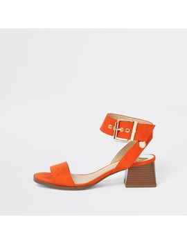 Red Two Part Block Heel Sandals by River Island