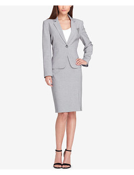 Embellished One Button Skirt Suit by Tahari Asl
