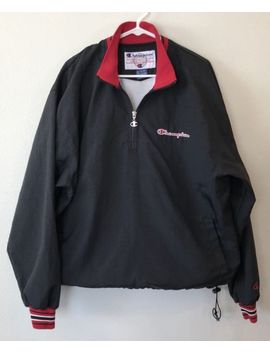Champion Mens L Windbreaker Jacket 1/2 Zip Black Red Small Spell Out Pullover by Ebay Seller