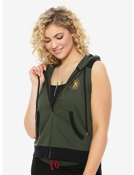 Her Universe Destination Disney Mulan Green Hoodie Vest Plus Size by Hot Topic